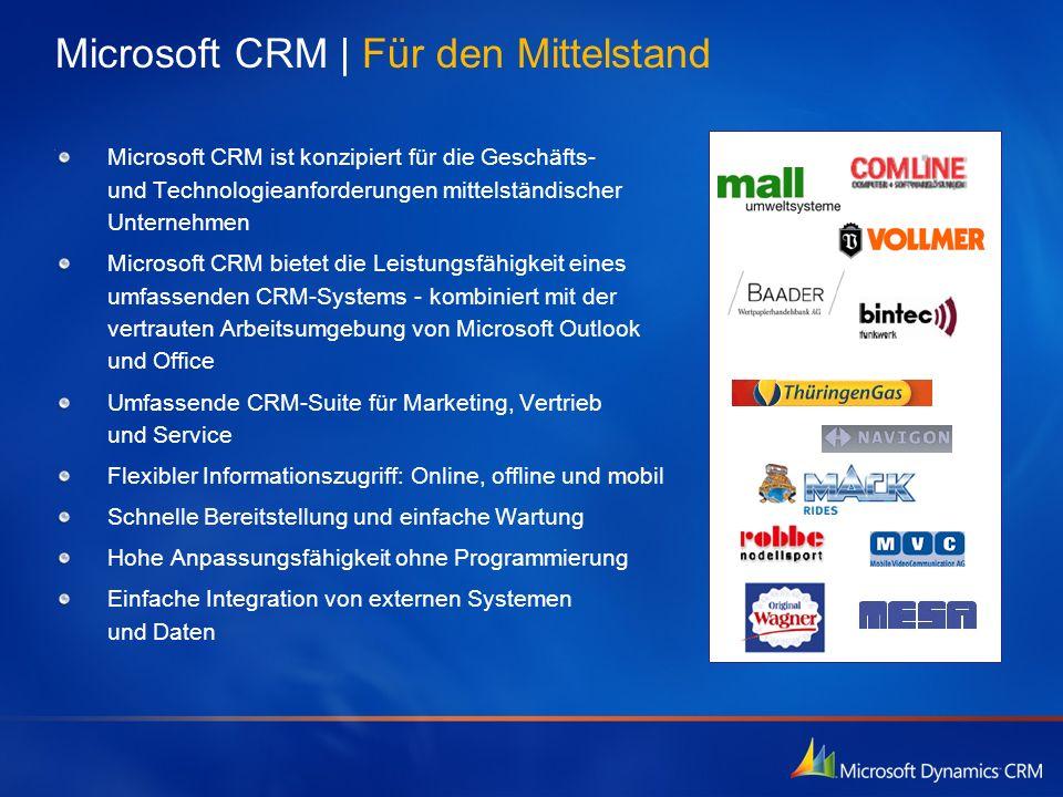Microsoft CRM   Für den Mittelstand Microsoft CRM ist konzipiert für die Geschäfts- und Technologieanforderungen mittelständischer Unternehmen Microso