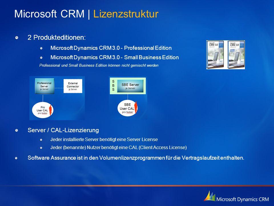 2 Produkteditionen: Microsoft Dynamics CRM 3.0 - Professional Edition Microsoft Dynamics CRM 3.0 - Small Business Edition Professional und Small Busin