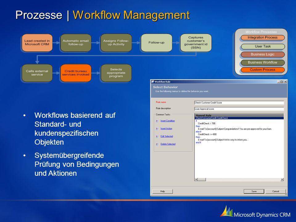 Prozesse   Workflow Management Workflows basierend auf Standard- und kundenspezifischen Objekten Systemübergreifende Prüfung von Bedingungen und Aktio
