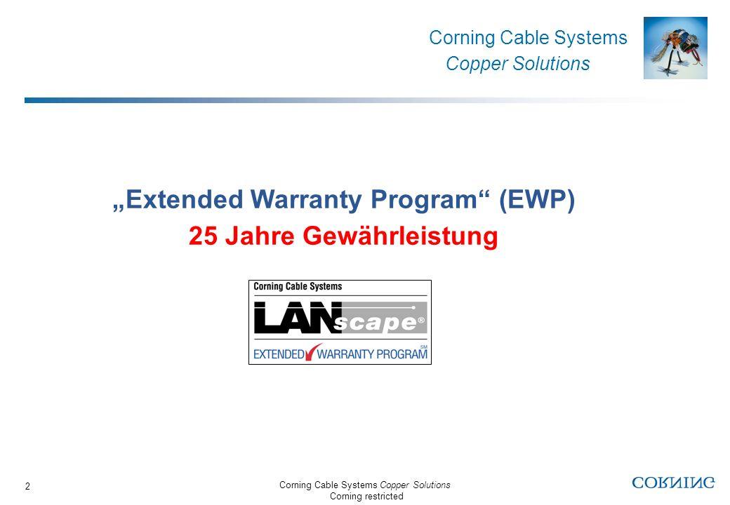 Corning Cable Systems Copper Solutions Corning restricted Corning Cable Systems Copper Solutions 3 LANscape - 25 Jahre Gewährleistung Was beinhaltet sie.