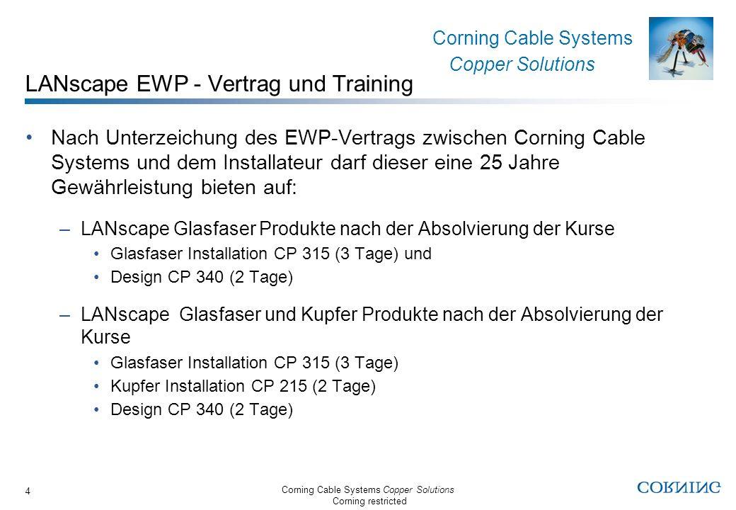 Corning Cable Systems Copper Solutions Corning restricted Corning Cable Systems Copper Solutions 5 LANscape EWP Vorteile für den Endkunden Die LANscape Gewährleistung gibt die Sicherheit, daß ein Glasfaser- und/oder Kupferverkabelungs-system von höchster Qualität installiert wird und die Corning- Produkte von einem LANscape-geschulten Installateuer eingebaut werden.