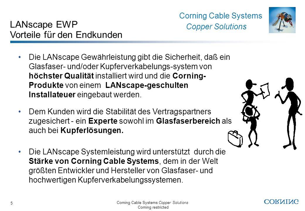 Corning Cable Systems Copper Solutions Corning restricted Corning Cable Systems Copper Solutions 6 LANscape EWP Gewährleistungszeitraum EWP-Partner sind berechtigt zum Anbieten unserer –25 Jahre Gewährleistung für komplette LANscape Verkabelungslösungen.