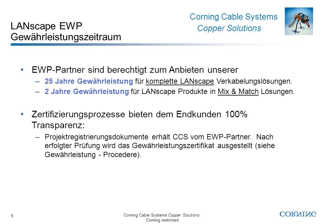 Corning Cable Systems Copper Solutions Corning restricted Corning Cable Systems Copper Solutions 6 LANscape EWP Gewährleistungszeitraum EWP-Partner si