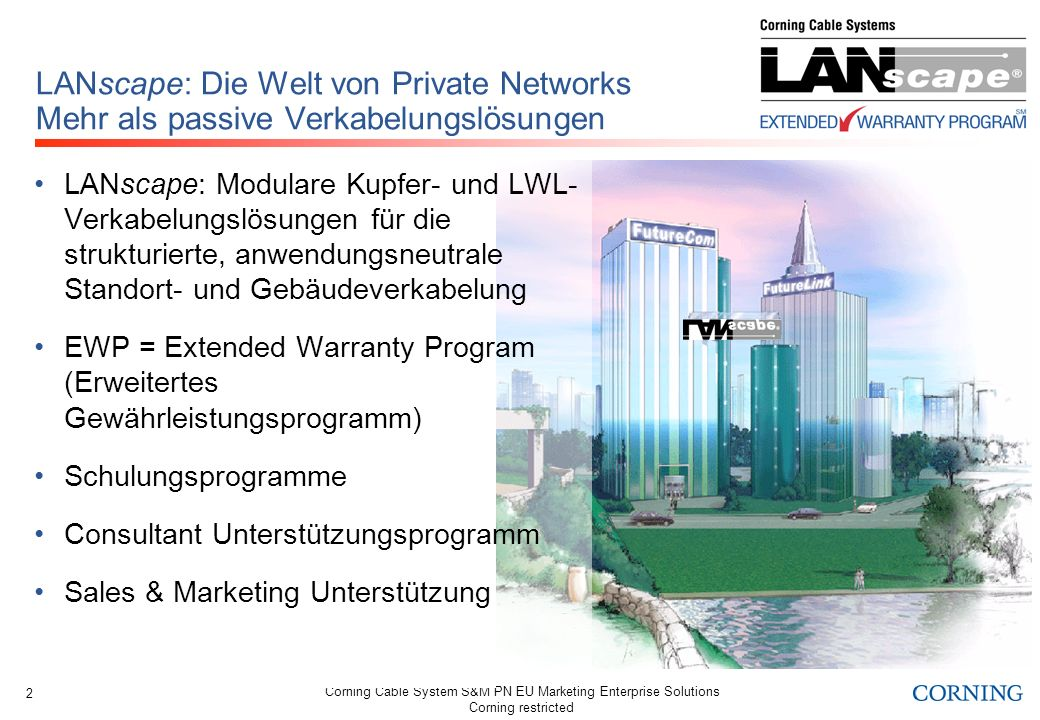 Corning Cable System S&M PN EU Marketing Enterprise Solutions Corning restricted 2 LANscape: Die Welt von Private Networks Mehr als passive Verkabelun