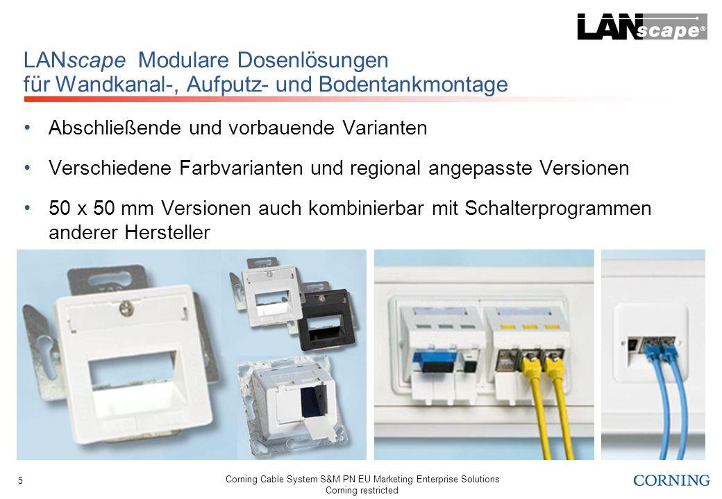 Corning Cable System S&M PN EU Marketing Enterprise Solutions Corning restricted 6 LANscape Bodentanklösungen mit Modulgehäusen