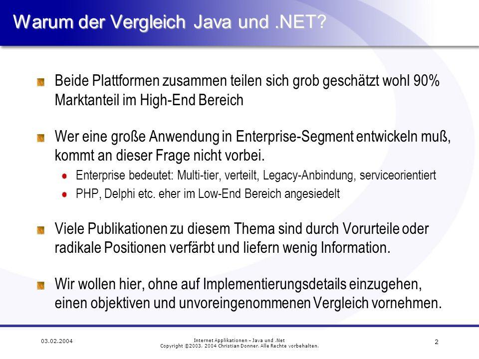 13 03.02.2004 Internet Applikationen – Java und.Net Copyright ©2003, 2004 Christian Donner.
