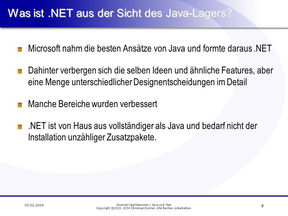 19 03.02.2004 Internet Applikationen – Java und.Net Copyright ©2003, 2004 Christian Donner.