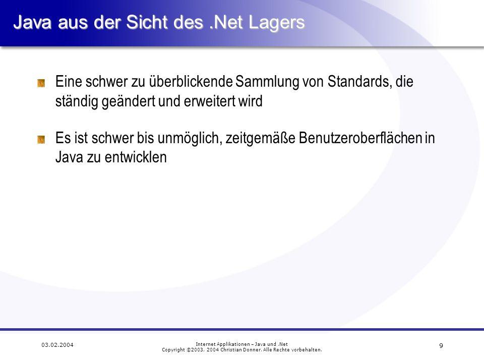 10 03.02.2004 Internet Applikationen – Java und.Net Copyright ©2003, 2004 Christian Donner.