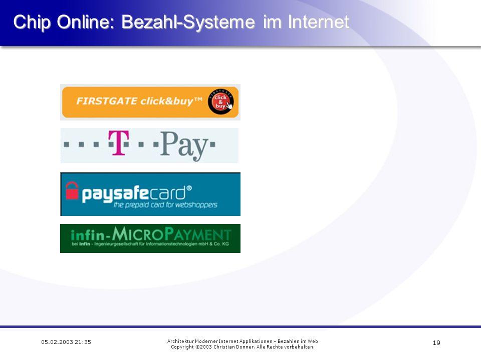 18 05.02.2003 21:35 Architektur Moderner Internet Applikationen – Bezahlen im Web Copyright ©2003 Christian Donner. Alle Rechte vorbehalten.PayPal Pay
