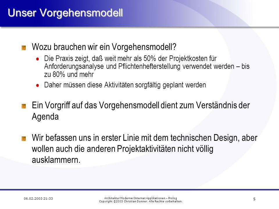 5 06.02.2003 21:33 Architektur Moderner Internet Applikationen – Prolog Copyright ©2003 Christian Donner.