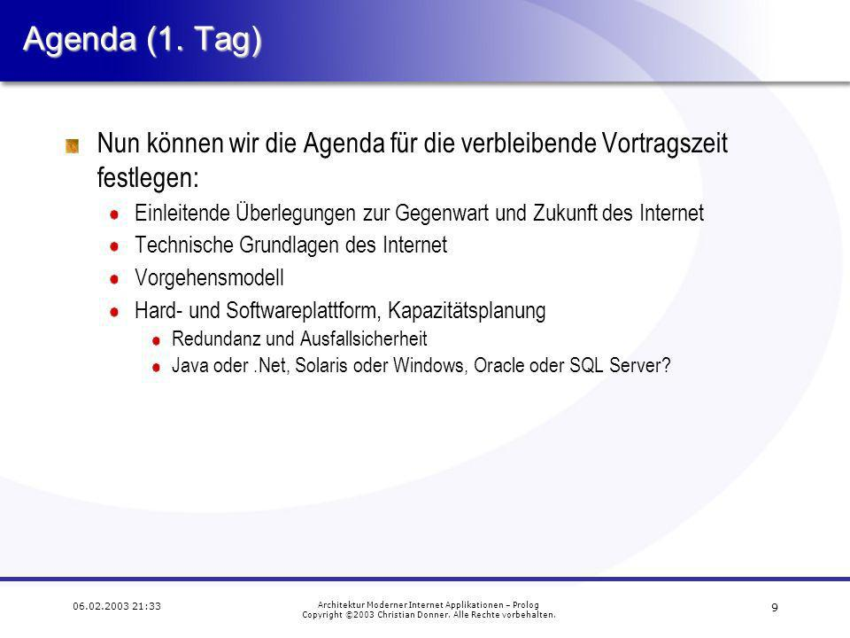 9 06.02.2003 21:33 Architektur Moderner Internet Applikationen – Prolog Copyright ©2003 Christian Donner.