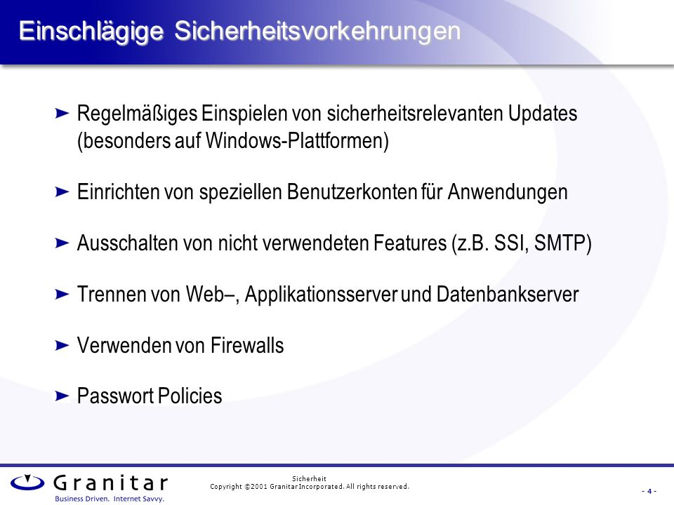 - 3 - Sicherheit Copyright ©2001 Granitar Incorporated.