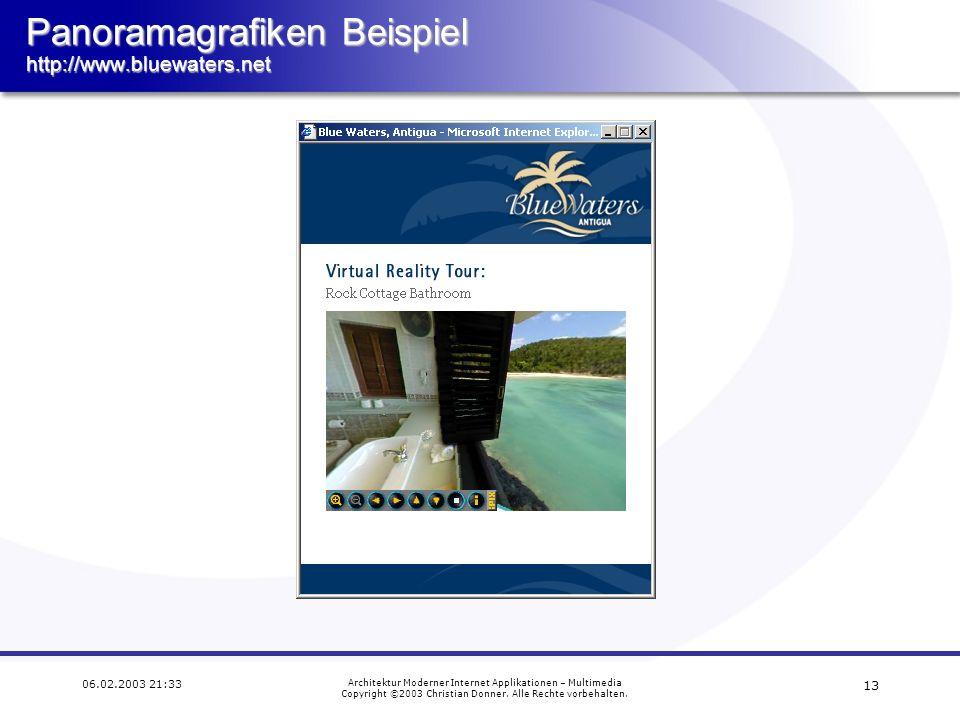 12 06.02.2003 21:33 Architektur Moderner Internet Applikationen – Multimedia Copyright ©2003 Christian Donner. Alle Rechte vorbehalten. Pro und Contra