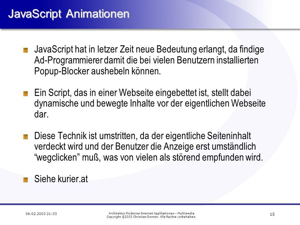 14 06.02.2003 21:33 Architektur Moderner Internet Applikationen – Multimedia Copyright ©2003 Christian Donner. Alle Rechte vorbehalten. Animierte GIF