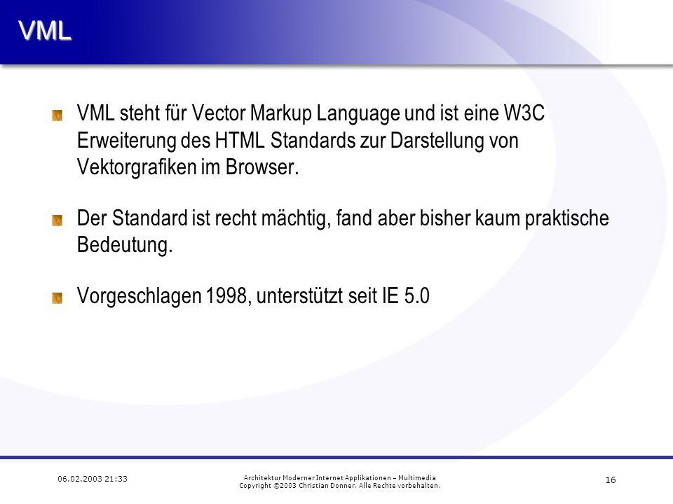 15 06.02.2003 21:33 Architektur Moderner Internet Applikationen – Multimedia Copyright ©2003 Christian Donner. Alle Rechte vorbehalten. JavaScript Ani