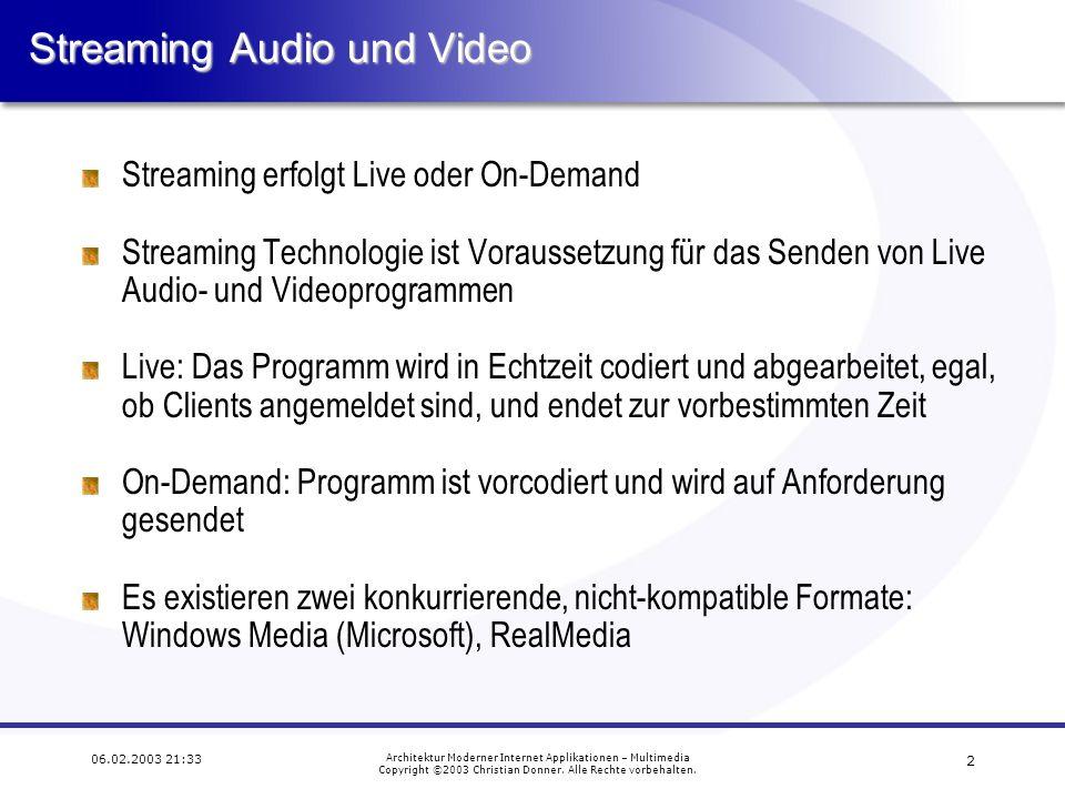 1 06.02.2003 21:33 Architektur Moderner Internet Applikationen – Multimedia Copyright ©2003 Christian Donner. Alle Rechte vorbehalten.Inhalt Streaming