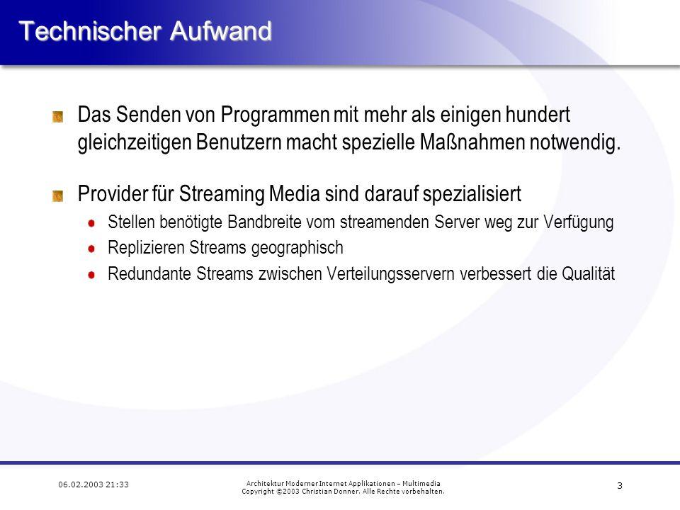 2 06.02.2003 21:33 Architektur Moderner Internet Applikationen – Multimedia Copyright ©2003 Christian Donner. Alle Rechte vorbehalten. Streaming Audio