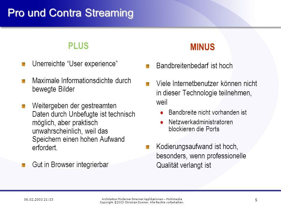15 06.02.2003 21:33 Architektur Moderner Internet Applikationen – Multimedia Copyright ©2003 Christian Donner.