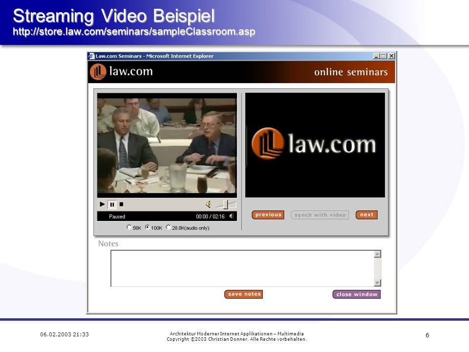 16 06.02.2003 21:33 Architektur Moderner Internet Applikationen – Multimedia Copyright ©2003 Christian Donner.