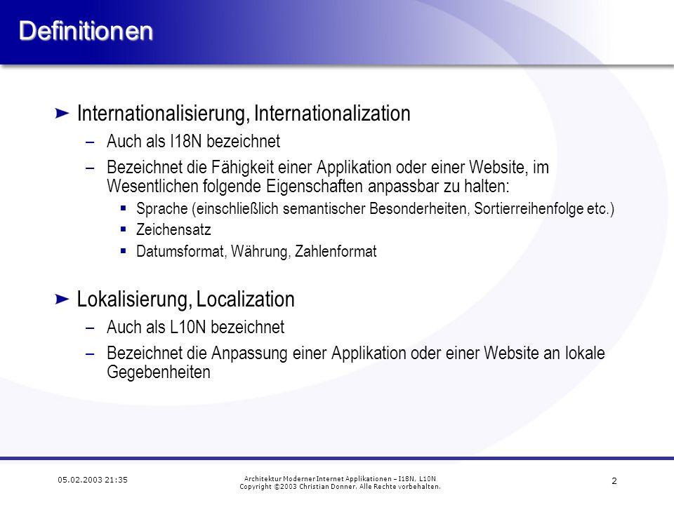 2 05.02.2003 21:35 Architektur Moderner Internet Applikationen – I18N, L10N Copyright ©2003 Christian Donner.