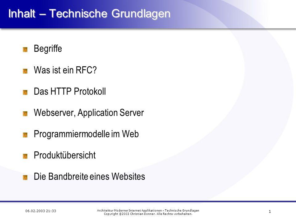 1 06.02.2003 21:33 Architektur Moderner Internet Applikationen – Technische Grundlagen Copyright ©2003 Christian Donner.