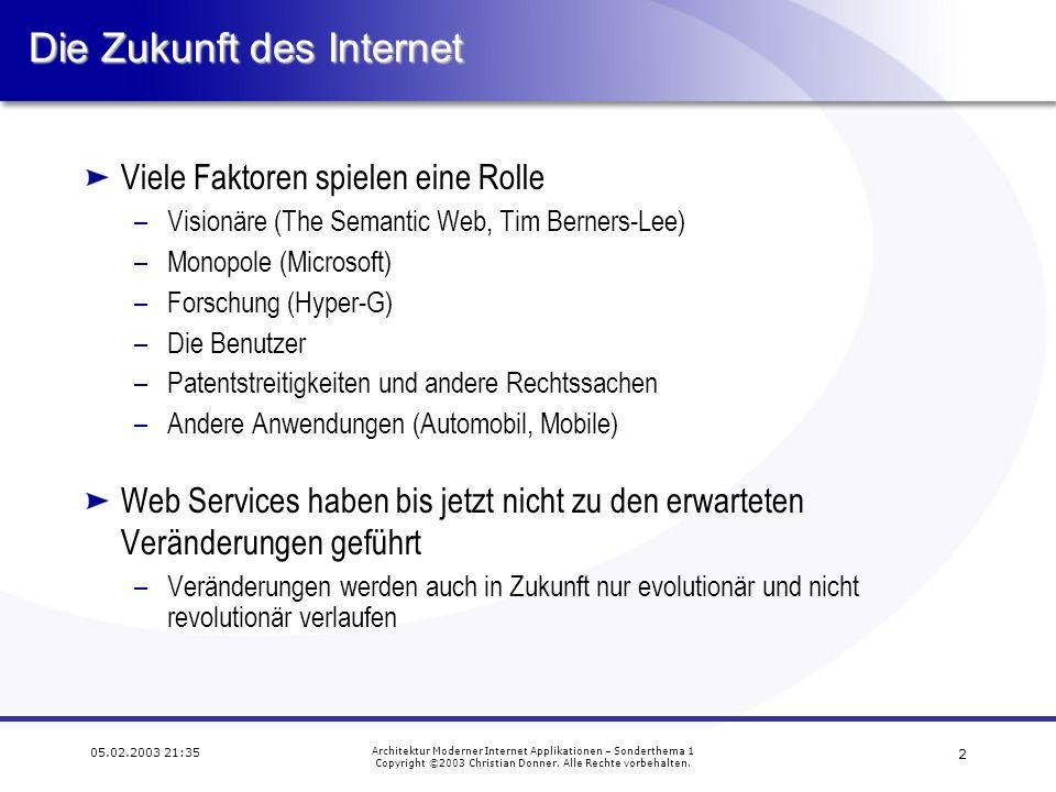 1 05.02.2003 21:35 Architektur Moderner Internet Applikationen – Sonderthema 1 Copyright ©2003 Christian Donner.