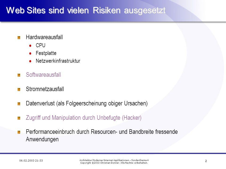 1 06.02.2003 21:33 Architektur Moderner Internet Applikationen – Sonderthema 4 Copyright ©2003 Christian Donner.