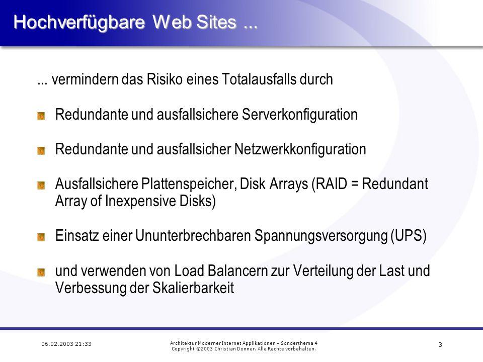 2 06.02.2003 21:33 Architektur Moderner Internet Applikationen – Sonderthema 4 Copyright ©2003 Christian Donner.