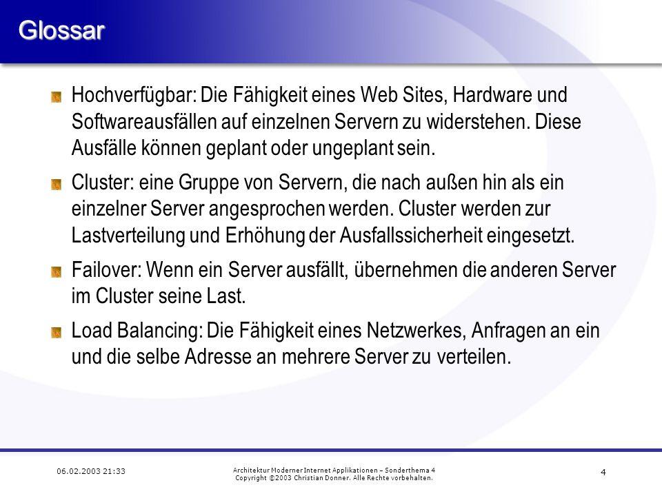 13 06.02.2003 21:33 Architektur Moderner Internet Applikationen – Sonderthema 4 Copyright ©2003 Christian Donner.