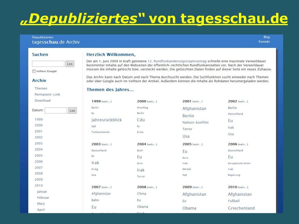 Depubliziertes von tagesschau.de