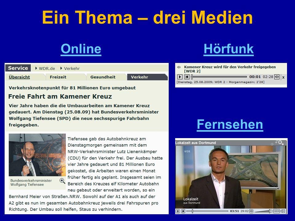Ein Thema – drei Medien OnlineHörfunk Fernsehen