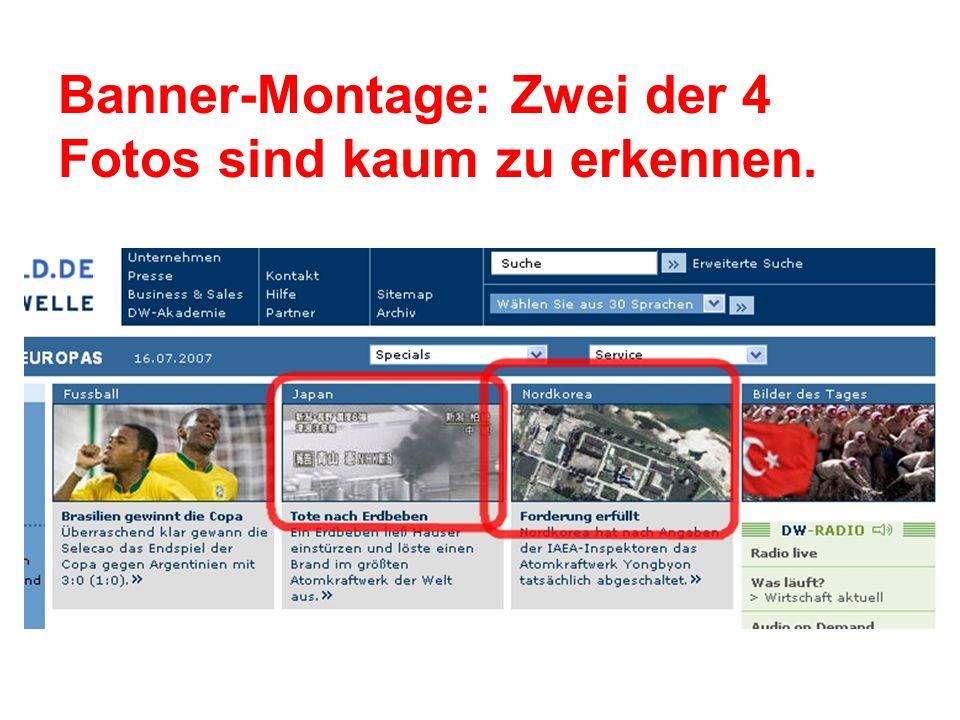 Banner-Montage: Zwei der 4 Fotos sind kaum zu erkennen.