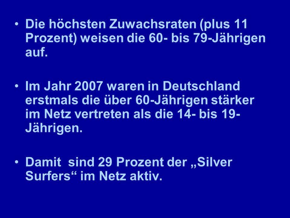 Die höchsten Zuwachsraten (plus 11 Prozent) weisen die 60- bis 79-Jährigen auf. Im Jahr 2007 waren in Deutschland erstmals die über 60-Jährigen stärke