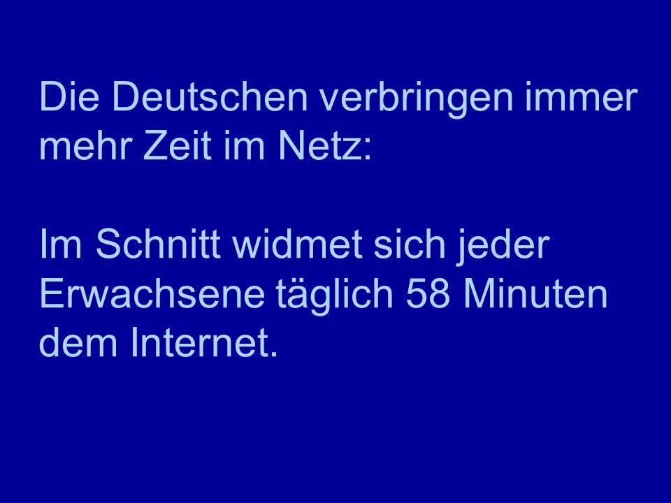 Die Deutschen verbringen immer mehr Zeit im Netz: Im Schnitt widmet sich jeder Erwachsene täglich 58 Minuten dem Internet.