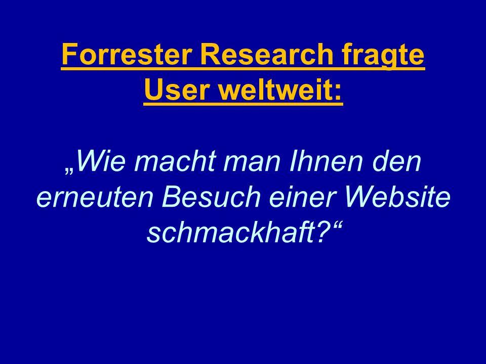 Forrester Research fragte User weltweit:Wie macht man Ihnen den erneuten Besuch einer Website schmackhaft?