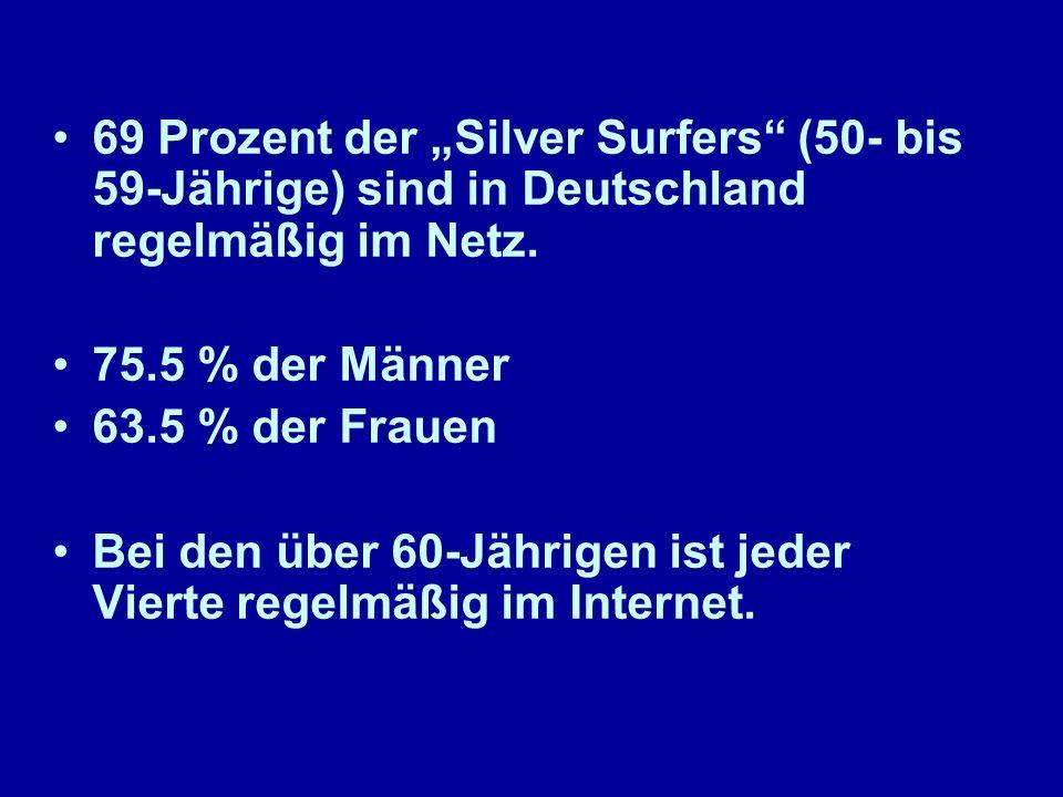 69 Prozent der Silver Surfers (50- bis 59-Jährige) sind in Deutschland regelmäßig im Netz.