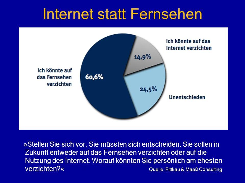 Internet statt Fernsehen »Stellen Sie sich vor, Sie müssten sich entscheiden: Sie sollen in Zukunft entweder auf das Fernsehen verzichten oder auf die Nutzung des Internet.