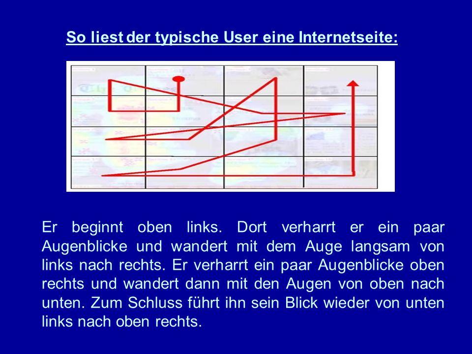 So liest der typische User eine Internetseite: Er beginnt oben links.