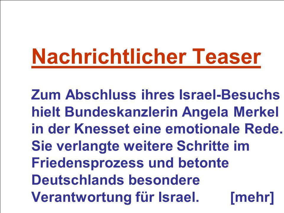Nachrichtlicher Teaser Zum Abschluss ihres Israel-Besuchs hielt Bundeskanzlerin Angela Merkel in der Knesset eine emotionale Rede.
