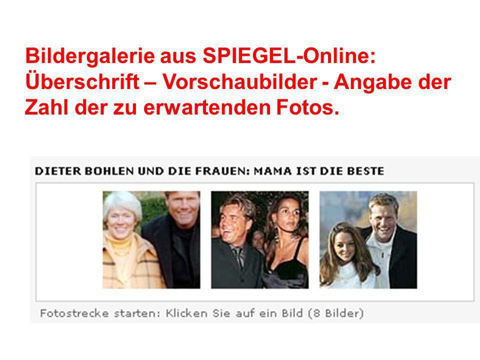 Bildergalerie aus SPIEGEL-Online: Überschrift – Vorschaubilder - Angabe der Zahl der zu erwartenden Fotos.