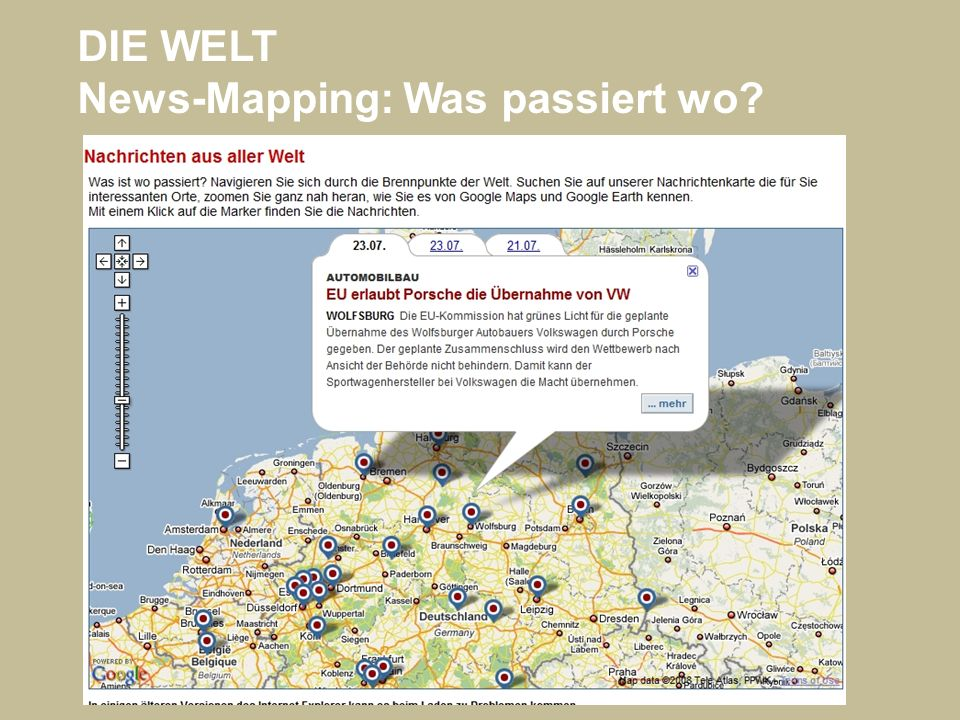 DIE WELT News-Mapping: Was passiert wo?