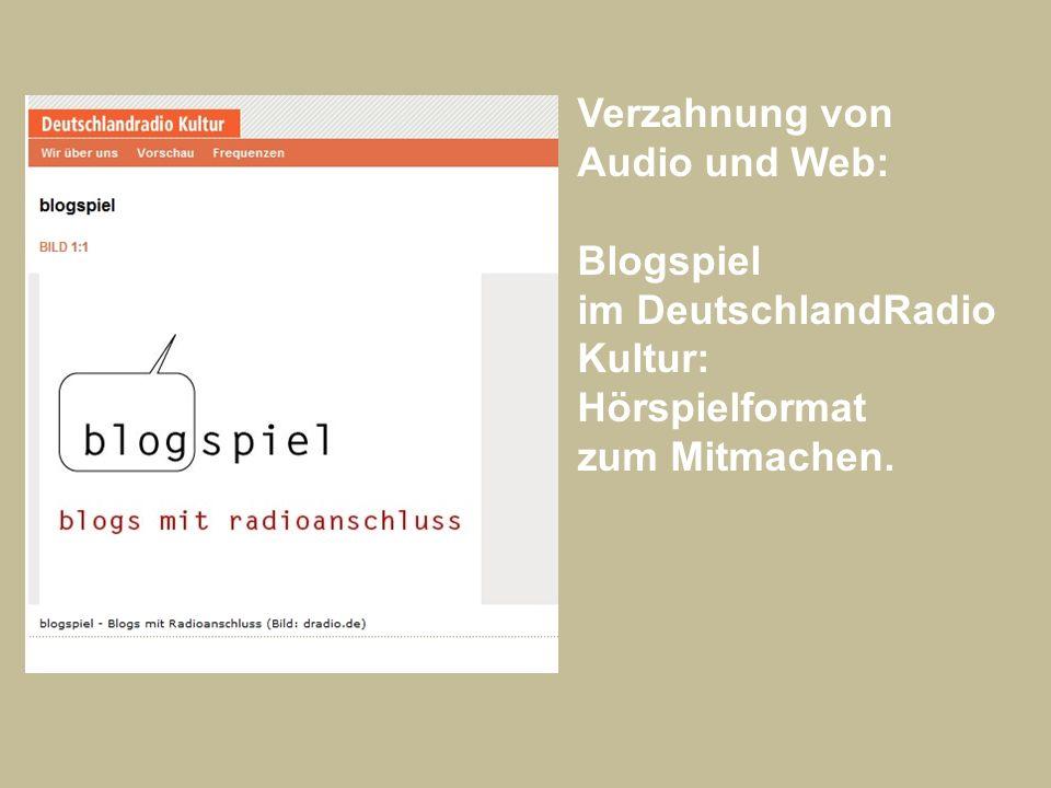 Verzahnung von Audio und Web: Blogspiel im DeutschlandRadio Kultur: Hörspielformat zum Mitmachen.