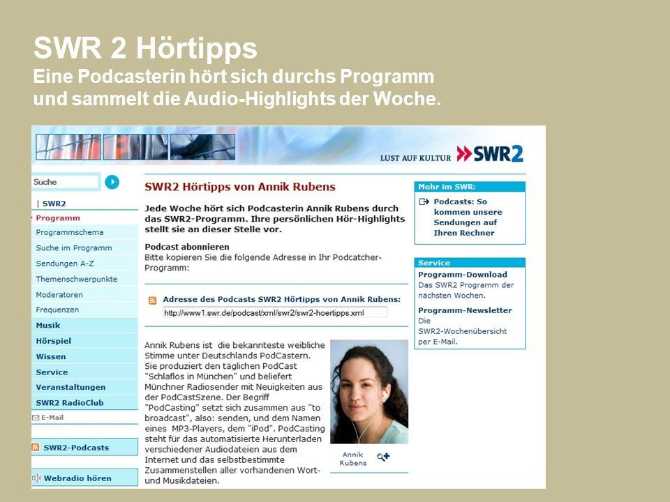 SWR 2 Hörtipps Eine Podcasterin hört sich durchs Programm und sammelt die Audio-Highlights der Woche.