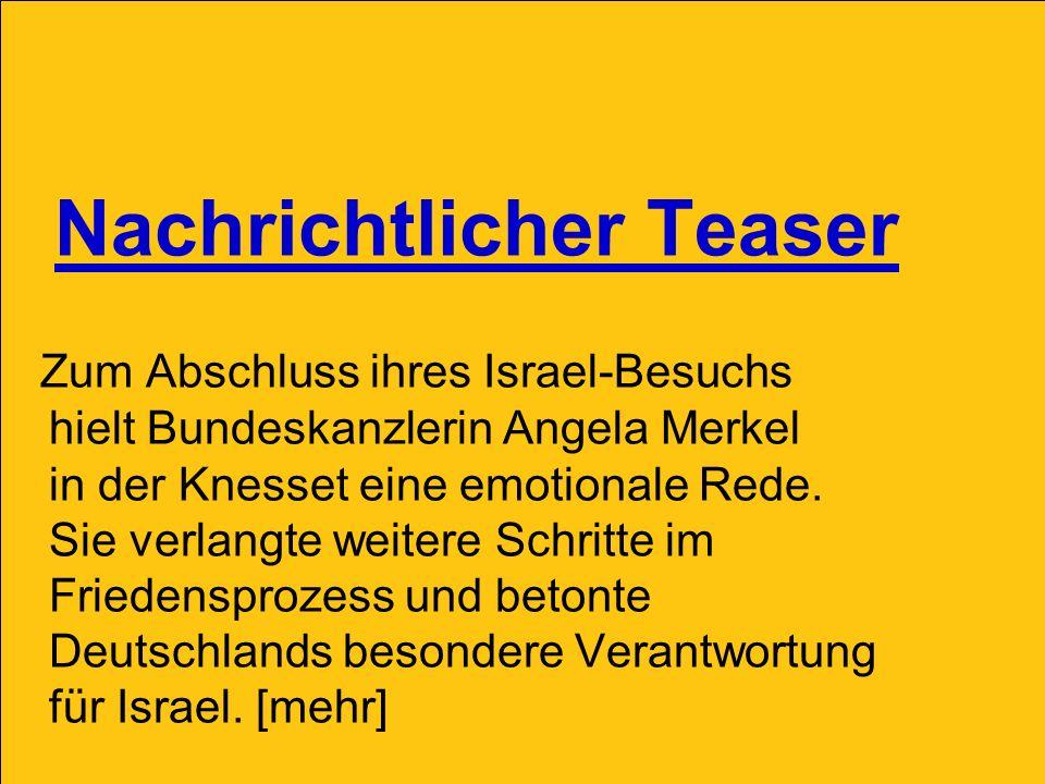 Nachrichtlicher Teaser Zum Abschluss ihres Israel-Besuchs hielt Bundeskanzlerin Angela Merkel in der Knesset eine emotionale Rede. Sie verlangte weite