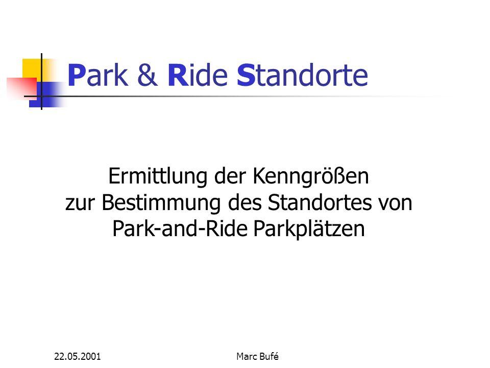 22.05.2001Marc Bufé Anforderungen der Nutzer 2/2 Kostenvorteil - Vollkosten Pkw werden oft übersehen - Entgelte für P+R trotzdem Komfort - Anlagengestaltung (Überdachung...) - Nebenanlagen - Sicherheit