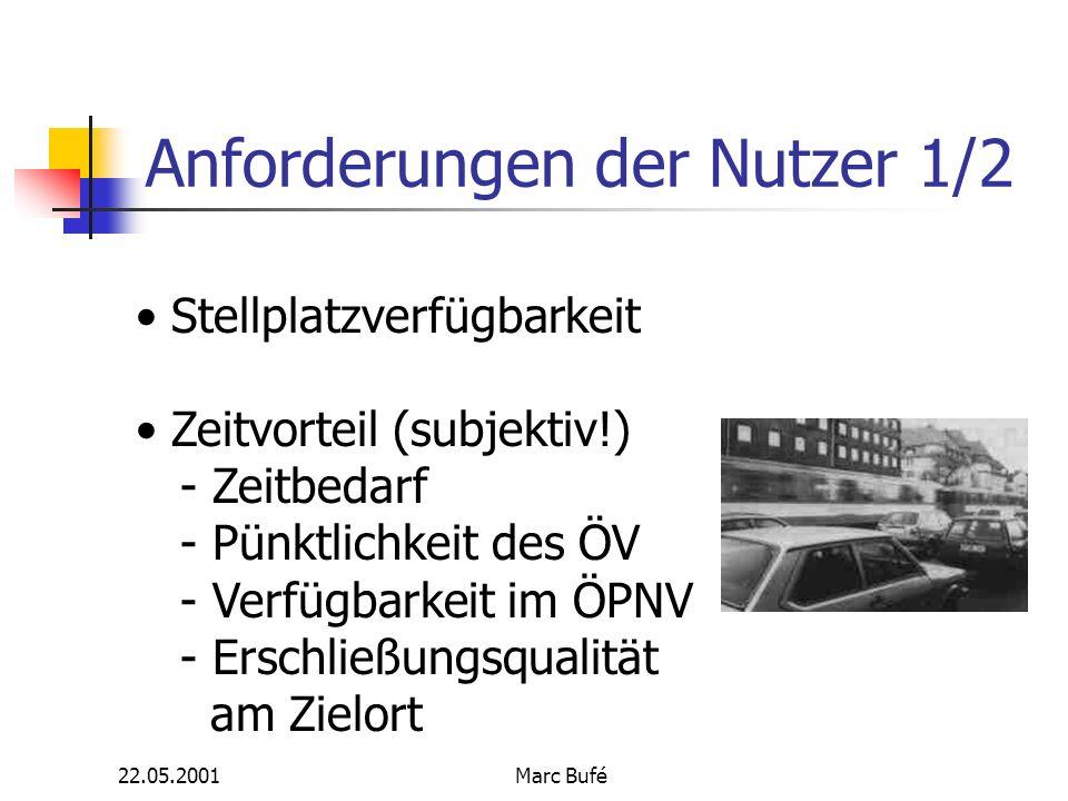 22.05.2001Marc Bufé Anforderungen der Nutzer 1/2 Stellplatzverfügbarkeit Zeitvorteil (subjektiv!) - Zeitbedarf - Pünktlichkeit des ÖV - Verfügbarkeit im ÖPNV - Erschließungsqualität am Zielort