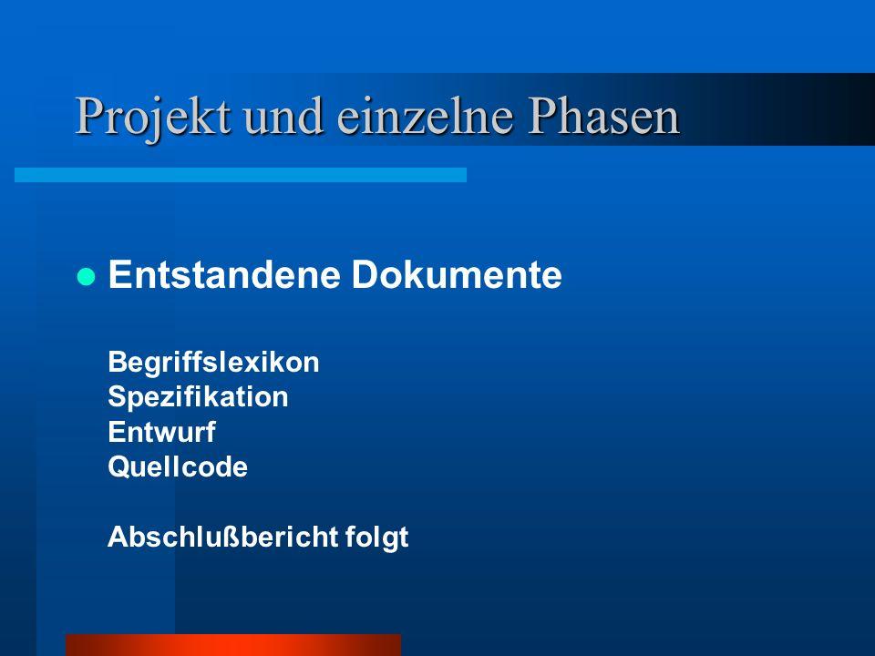 Projekt und einzelne Phasen Entstandene Dokumente Begriffslexikon Spezifikation Entwurf Quellcode Abschlußbericht folgt
