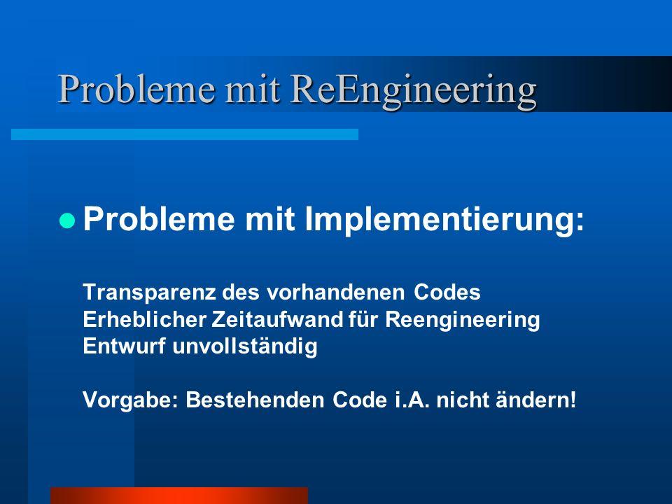 Probleme mit ReEngineering Probleme mit Implementierung: Transparenz des vorhandenen Codes Erheblicher Zeitaufwand für Reengineering Entwurf unvollständig Vorgabe: Bestehenden Code i.A.
