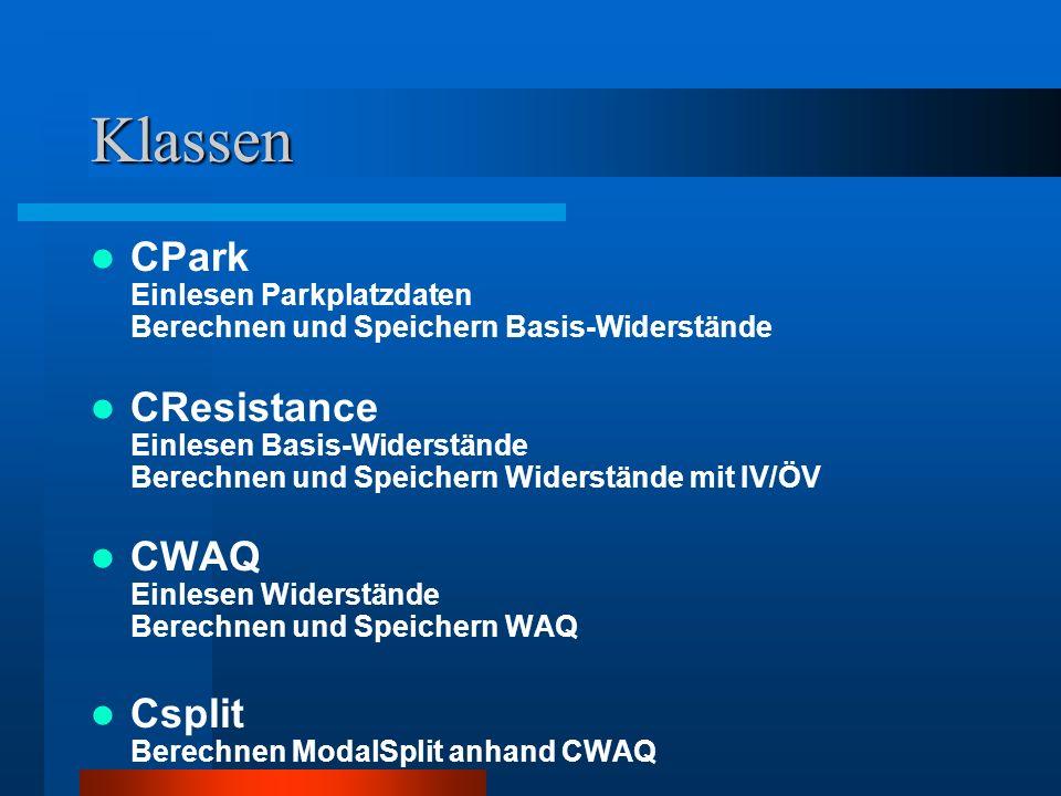 Klassen CPark Einlesen Parkplatzdaten Berechnen und Speichern Basis-Widerstände CResistance Einlesen Basis-Widerstände Berechnen und Speichern Widerstände mit IV/ÖV CWAQ Einlesen Widerstände Berechnen und Speichern WAQ Csplit Berechnen ModalSplit anhand CWAQ
