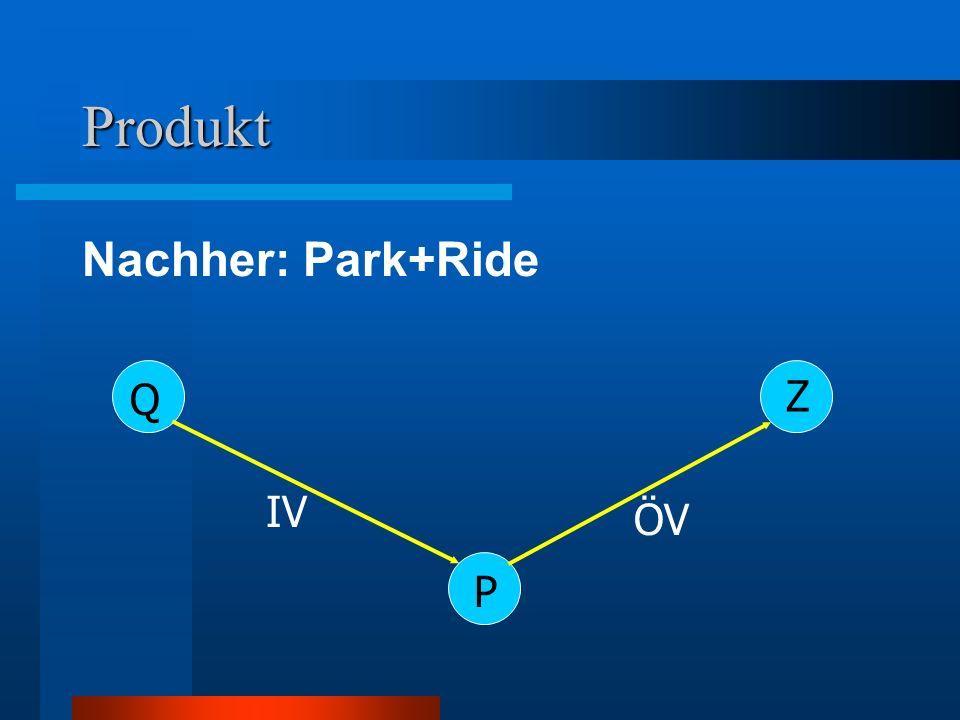 Umsetzung / Vorgehensweise Laden Daten P+R und P+M Berechnung von –Erzeugung –Widerstände –Widerstandsattraktivitätsquotienten –Fahrten Speichern Daten P+R und P+M Berücksichtigung beim Split